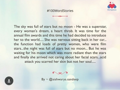 Won the best #100 words story on Momspresso